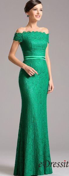 Elegant Off Shoulder Green Overlace Formal Dress