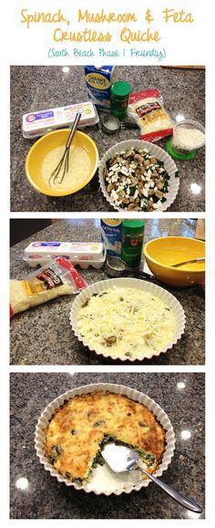 Spinach Mushroom Feta Crustless Quiche #recipe