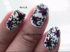 Hey everyone finally Spring IS HERE! I love spring, well everything but those frisky tornadoes! Celebrate spring with flowers and swirls a girly nail desig. Purple Nails, Black Nails, White Nails, Spring Nail Art, Spring Nails, Summer Nails, Elegant Nail Designs, White Nail Designs, Nail Tutorials