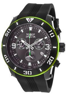 Invicta 19827 Watches,Men's Pro Diver Chrono Black Polyurethane Orange Accent, Diver Invicta Quartz Watches