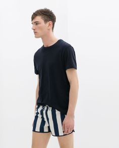 Image 2 of STRIPED SWIM SHORTS WITH CONTRASTING WAISTBAND from Zara