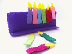 Judaica Menorah Toy for Chanukah special gift for kids in purple felt