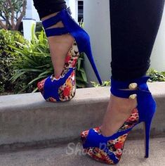Gorgeous Flower Print Amazing Ankle Strap High Heel Sandals