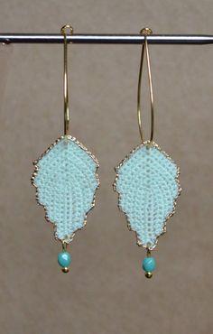 Mint Vintage Inspired Irish Crochet Leaf Dangle Earrings w Turquoise Bead on Etsy, $25.00