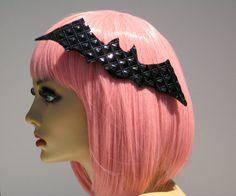 Bat Hair Clip Black Vinyl Spooky Goth Lolita by GlampireDesign