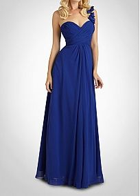 Stunning Chiffon A-line One Shoulder  Bridesmaid Dress. Hate the color but love the style