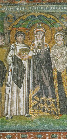 The Empress Theodora (500 – 28 June 548) wife of Justinian I, San Vitale, Ravenna. Theodora wasn't born in purple but Justinian married the woman he loved, she got to be Empress after a life as a prostitute but her low past made her a fighter for women's rights and a good ruler.