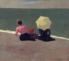 Félix Vallotton (1865 - 1925) - On The Beach (Sur la plage), 1899 Oil on Canvas Kunsthaus Zürich, Switzerland