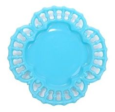 Want this to add to my milk glass collection!! Blue Milk Glass Plate  Adorable quadrafoil  plate in the perfect turquoise blue color. $45.00