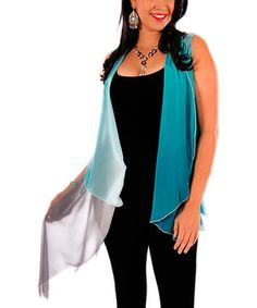 Another great find on #zulily! Lily Teal Sheer Ombré Vest - Plus by Lily #zulilyfinds