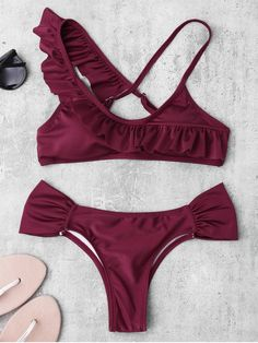 $13.49 Ruched Asymmetric Ruffles Bikini Set - BURGUNDY M