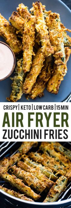 Crispy parmesan zucchini fries baked in the air fryer. These low carb and keto diet friendly zucchini fries (aka chips) are light, crispy, and packed full of flavor at only 3 net carbs per serving in… Air Fryer Recipes Keto, Air Frier Recipes, Air Fryer Dinner Recipes, Low Carb Recipes, Cooking Recipes, Healthy Recipes, Air Fryer Recipes Vegetarian, Easy Recipes, Vegetarian Meal