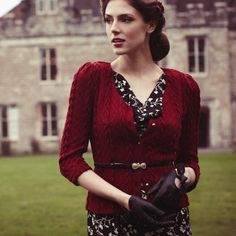Red sweater, leather driving gloves, classic and feminine look