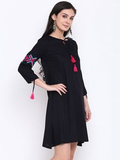 Buy Shakumbhari Black Embroidered Tunic - Tunics for Women 6632288 Embroidered Tunic, Kurti, Tunics, Cold Shoulder Dress, Black, Dresses, Design, Women, Style