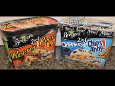 Breyers 2in 1 Reese's and Reese's Pieces and Oreo and Chips Ahoy! Frozen Dairy Dessert Review - YouTube