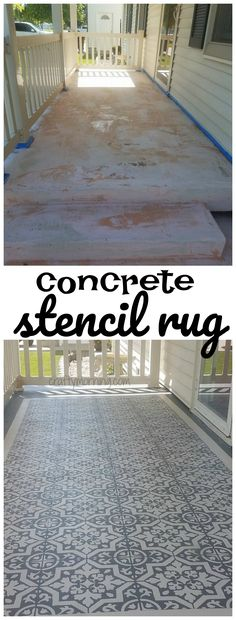 DIY Concrete Stencil Patio Rug...this is beautiful! Great directions too