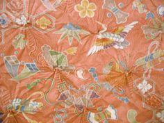 VERY RARE Tsuru Cho Cho Vintage Japanese shibori  by CosimaOrimono, $120.00
