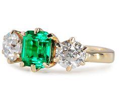 Sumptuous Art Deco, 1.2 tcw Emerald w/ 2 old european cut diamonds .80 tcw & .75 tcw, 14k yellow gold ring, c.1920 ~ The Three Graces