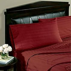"""Egyptian Linens 1000 Thread-Count, California King 1000TC Pillow Cases, Burgundy Damask Stripe, Set of 2 by Egyptian Linens. $29.99. Machine wash in cold water with similar colors. Tumble dry low. Do not bleach. 100% Luxury 1000TC long-staple Egyptian Cotton Pillow Cases. Made in Egypt. Brand New and Factory Sealed.. 2 King Pillow Cases (20"""" x 40""""). Package contains 2 Pillow Cases in a beautiful zippered package. Wrap yourself in these 100% Egyptian Cotton Superior pillow cases..."""