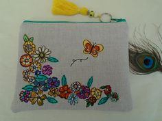 Handmade Cosmetic Makeup Bag, Boho Hippy Festival Tassel, Flower and Butterfly Applique Embroidery Oatmeal Linen Floral Lining Purse Gift