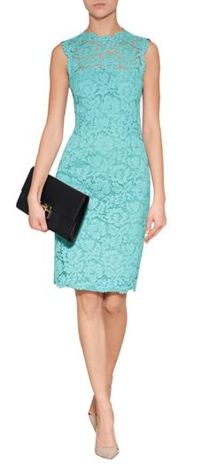 Detailed in a pretty turquoise hue, Valentino's lace overlay sheath is an incredibly elegant choice for day or night #Stylebop