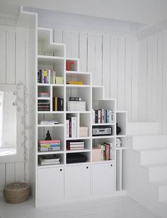 The Best Shelves for Small Spaces Under Stairs Staircase Ideas, Railing Ideas, Staircase Storage, Open Staircase, Stair Storage, Staircase Bookshelf, Bookshelves, Staircase Remodel, Tiny House Stairs