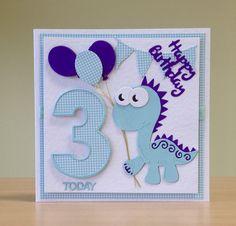 Baby Birthday Card, Homemade Birthday Cards, Birthday Cards For Boys, Bday Cards, 1st Boy Birthday, Homemade Cards, Kirigami, Dinosaur Cards, Card Sentiments
