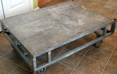 galvanized industrial factory cart would make a great coffee table