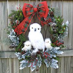 Huge Snow Owl Family Winter Christmas Wreath, White owl, Rustic, Cabin, Woodland, Burlap Bow, Holiday, XXXLarge, Owl Home decor, Door wreath