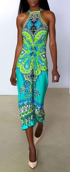 teal halter dress by Marc Bouwer ♥