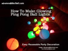 How To Make Glowing Ping Pong Ball Lights - Easy Reuseable Party Decoration - Plant Care Today just cut Xs in the Ping pong ball and stick it on a light on a strand Glow Stick Party, Glow Sticks, Solar Light Crafts, Solar Lights, Ping Pong Lights, Outdoor Steps, Outdoor Fun, Outdoor Garden Decor, Ball Lights