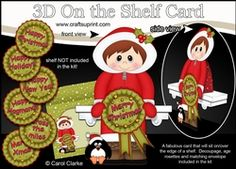 3D On The Shelf Card Kit - Cute Christmas Eskimo Boy With Seasonal Greetings…