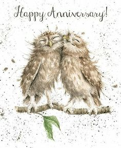 A beautiful wedding anniversary card with a gorgeous owls design.The caption reads: Happy Anniversary!The wonderful illustration is from a watercolour entitled Anniversary Owls by Hannah Dale. Happy Aniversary, Happy Anniversary Wishes, Anniversary Greeting Cards, Anniversary Funny, Owl Art, Bird Art, Wrendale Designs, Cute Animals, Illustrations