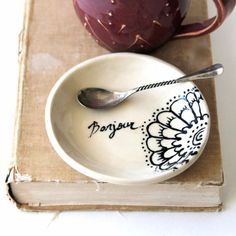 Little French Dish - Bonjour French Inspired - Cream and Black - Jewelry Tray Soap Dish - Ready to Ship on Etsy, $24.00