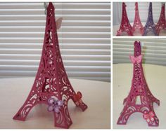 Glitter Paper Eiffel Tower with Butterfly and Lady Bug Decorations great Cake Topper or Decoration for French Paris Theme Party-DIY