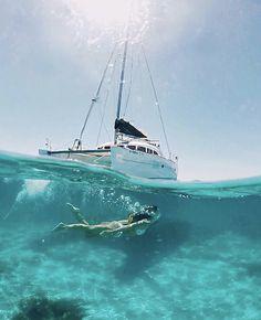 Alexandra Pereira in Ibiza, Spain Catamaran Design, Sailing Catamaran, Costa, Ibiza Spain, Charter Boat, Underwater Photos, Underwater Sea, Cruise Travel, Vacation Pictures