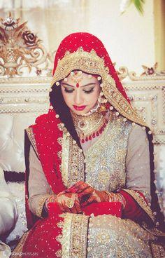 New Islamic Wedding Hijab Style, Muslim Bride, Chinese Muslim Bridal Hijab, Wedding Hijab, Pakistani Bridal Dresses, Bridal Outfits, Indian Dresses, Indian Outfits, Bridal Lenghas, Walima, Desi Bride