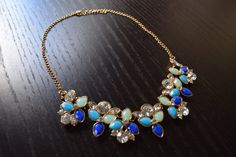 Stunning Blue Statement Necklace - Choker Necklace, Collar Necklace, Chokers, Bib Necklace, Chunky Necklaces, Womens Necklace, Blue Jewelry