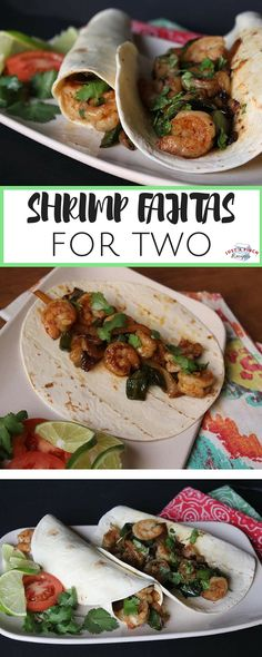 """These shrimp fajitas were seasoned to perfection and just the right amount for two people. I love the combination of seasoning. slightly sweet and savory with a little spice. A great recipe for a b (Chicken Fajitas For Two) Best Shrimp Recipes, Seafood Recipes, Gourmet Recipes, Mexican Food Recipes, Vegetarian Recipes, Dinner Recipes, Healthy Recipes, Ethnic Recipes, Healthy Food"