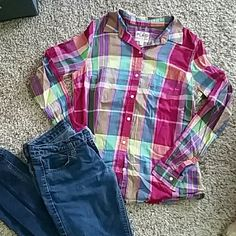 Plaid Button Down Long Sleeve shirt EUC! Adorable Bright Plaid Button Down. Light weight and super comfy. Just haven't grabbed for it.. Old Navy Tops Button Down Shirts