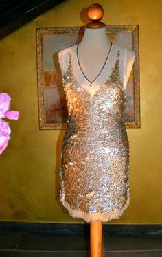Elisabetta Franchi Celyn b. golden sequin dress 42