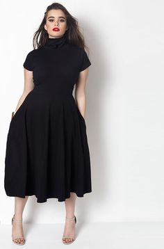 Plus Size Turtleneck Skater Midi Dress