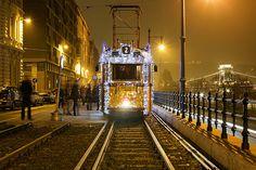 Christmas tram in Budapest 13 Budapest, Railroad Tracks, Explore, City, Fun, Travel, Christmas, Hungary, Xmas