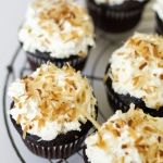 Chocolate Cupcakes with Toasted Coconut Whipped Cream