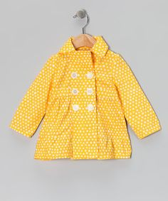 Yellow Polka Dot Double-Breasted Jacket - Infant & Toddler by Guppiez on #zulily today