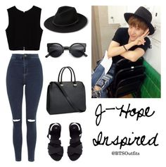 """J-Hope Inspired Outfit"" by btsoutfits ❤ liked on Polyvore featuring Topshop, MANGO, Zara, H&M and Retrò"