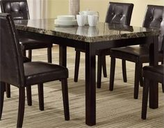 Poundex F2093 Contemporary Dining Table with Faux Marble Top