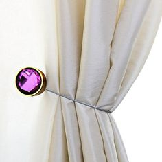 Shinywear Creative Round Gem Magnetic Curtain Tiebacks Clips Clamp Metal Decorative Holdbacks for Home Pack of 2 (Purple) - Brought to you by Avarsha.com