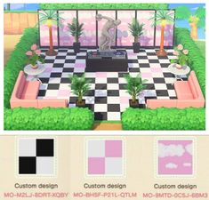 A lot of people wanted my design codes for my vaporwave venue, so here you go : ACQR Animal Crossing Guide, Animal Crossing Villagers, Animal Crossing Qr Codes Clothes, Animal Games, My Animal, Motif Acnl, Ac New Leaf, Motifs Animal, Path Design