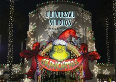 Grinchmas-Entrance Marquee at Night: Universal Studio Hollywood California
